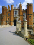 The Queen's Beasts on the Bridge Leading to Hampton Court Palace  Hampton Court  London  England