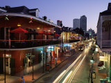 City Skyline and Bourbon Street  New Orleans  Louisiana  United States of America  North America