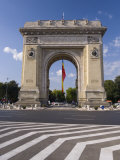 Triumphal Arch (Arcul De Triumf) and Romanian Flag  Bucharest  Romania  Europe