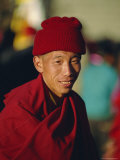 Portrait of a Man in Red  Lhasa  Tibet  China  Asia