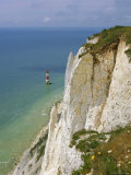 Lighthouse and Chalk Cliffs at Beachy Head  Near Eastbourne  East Sussex  England  UK