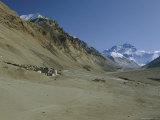Mt Everest 8848M and Rongbuk Monastery  Himalayas  Tibet  China