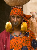 Portrait of a Fulani Woman Wearing Traditional Gold Earrings  Mopti  Mali  West Africa  Africa