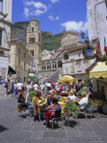 Cafes and Cathedral  Amalfi  Amalfi Coast  Campania  Italy  Europe
