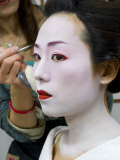 Geisha Having Her Make-Up Applied  Kyoto  Kansai Region  Honshu  Japan  Asia