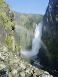 Rainbow and Voringsfossen Waterfall  Hardanger Region  Norway  Scandinavia  Europe