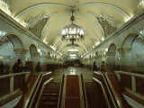 Interior of a Metro Station  with Ceiling Frescoes  Chandeliers and Marble Halls  Moscow  Russia