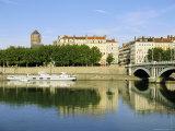 Quai Victor Augagneur on River Rhone  Lyon  Rhone Valley  France  Europe