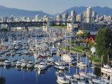 City Centre Seen Across Marina in Granville Basin  Vancouver  British Columbia  Canada