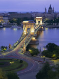 Chain Bridge Over the River Danube and St Stephens Basilica  Budapest  Hungary  Europe