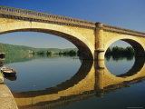 Reflections of a Bridge in the River Dordogne  Mauzac  Dordogne  Aquitaine  France  Europe