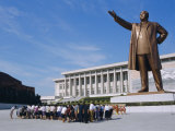 Commune Group Brought to Bow to Great Leader on Grand Monument  Pyongyang  North Korea  Asia