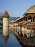 (Covered Wooden Bridge) Over the River Reuss  Kapellbrucke  Lucerne (Luzern)  Switzerland