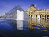 The Louvre and Pyramid  Paris  France  Europe