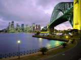 City Skyline and the Sydney Harbour Bridge at Dusk  Sydney  New South Wales  Australia