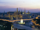 Wat Phra Kaew  the Temple of the Emerald Buddha  and the Grand Palace at Dusk in Bangkok  Thailand