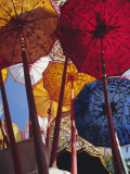 Decorative Umbrellas  Temple Festival  Mas  Bali  Indonesia  Asia