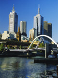 The City Skyline and Yarra River from Southgate  Melbourne  Victoria  Australia