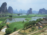 Farmland and Rock Formations of Guangxi  Guilin Province  China