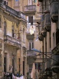 Apartment Buildings with Laundry Hanging from Balconies  Havana  Cuba  West Indies  Central America