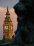 Big Ben and Lion Statue on Trafalgar Square  London  England