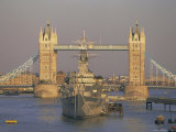 River Thames  Tower Bridge and Hms Belfast  London