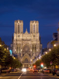 Cathedral  Unesco World Heritage Site  at Night  Reims  Haute Marne  France  Europe