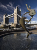 Tower Bridge and the Girl with a Dolphin Sculpture  London  England