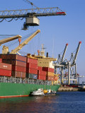 Crane Lifting Containers to and from Cargo Ship