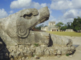 Serpent's Head at Bottom of Great Pyramid  Chichen Itza  Mayan Site  Mexico  Central America