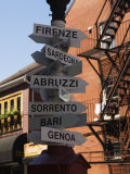 Signpost to Italian Cities  North End  'Little Italy'  Boston  Massachusetts  USA
