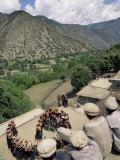 Men Watching Kalash Women Dancing  Spring Festival  Joshi  Bumburet Valley  Pakistan  Asia