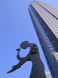 Hammering Man Statue and Fair Tower  Frankfurt  Hesse  Germany  Europe
