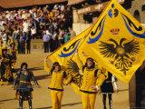 The Palio  Standard Bearers of the Aquila (Eagle) Contrada  Siena  Tuscany  Italy  Europe