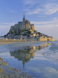 Mont St Michel (Mont Saint-Michel) Reflected in Water  Manche  Normandy  France  Europe