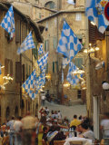 Palio Banquet for Members of the Onda (Wave) Contrada  Siena  Tuscany  Italy  Europe