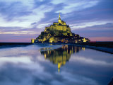 The Mount by Night Reflected in Water  Mont St Michel  Manche  Normandy  France