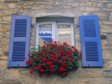 Blue Shuttered Windows and Red Flowers  Concarneau  Finistere  Brittany  France  Europe