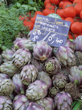 Artichokes for Sale on Market in the Rue Ste Claire  Annecy  Haute Savoie  Rhone-Alpes  France
