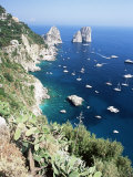 View Over Southern Coast to the Faraglioni Rocks  Island of Capri  Campania  Italy  Mediterranean
