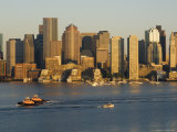 City Skyline at Dawn Across Boston Harbor  Boston  Massachusetts  USA