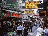 Shops and Market Stalls on Gage Street  Mid Levels  Hong Kong Island  Hong Kong  China  Asia