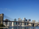 Manhattan Skyline  Brooklyn Bridge and the East River  New York City  New York  USA