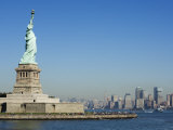 Statue of Liberty  Liberty Island and Manhattan Skyline Beyond  New York City  New York  USA