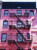 Pink Facade and Stairs in Soho  New York  New York State  USA