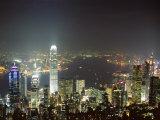 Hong Kong Skyline by Night from the Peak on Hong Kong Island  Hong Kong  China  Asia