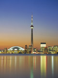City Skyline Including Cn Tower in the Evening  Toronto  Ontario  Canada