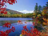 Fall Colours  Moose Pond  with Mount Pleasant in the Background  Maine  New England  USA