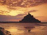 Mont Saint-Michel (Mont St Michel) at Sunset  La Manche Region  Normandy  France  Europe