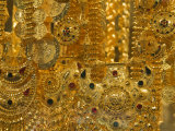 Close-up of Gold Jewelry in the Gold Souk  Deira  Dubai  United Arab Emirates  Middle East